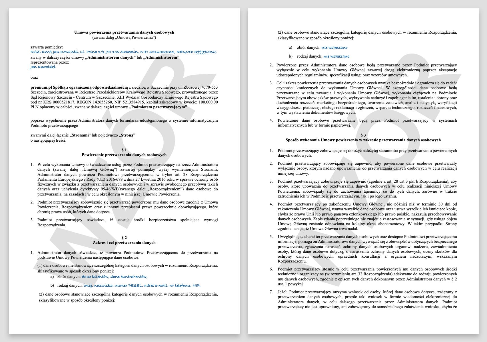 RODO - jak wyglądają przykładowe umowy powierzenia przetwarzania danych w premium.pl.